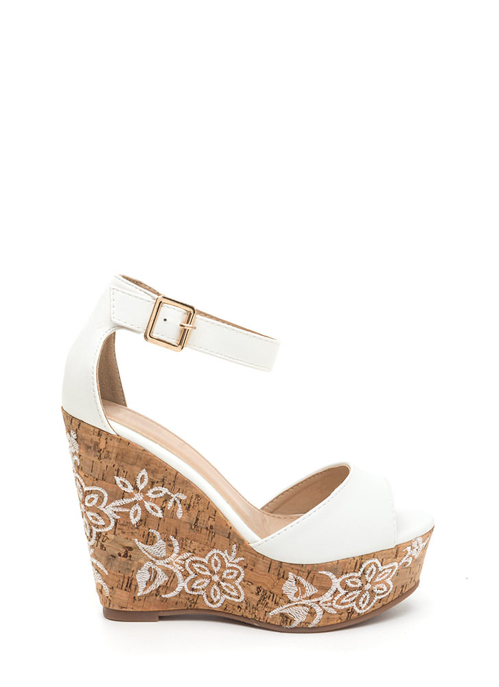 Bloom For More Faux Leather Wedges WHITE