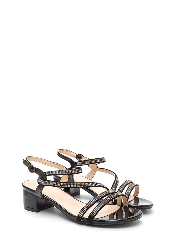 Bling It Up Strappy Faux Leather Heels BLACK