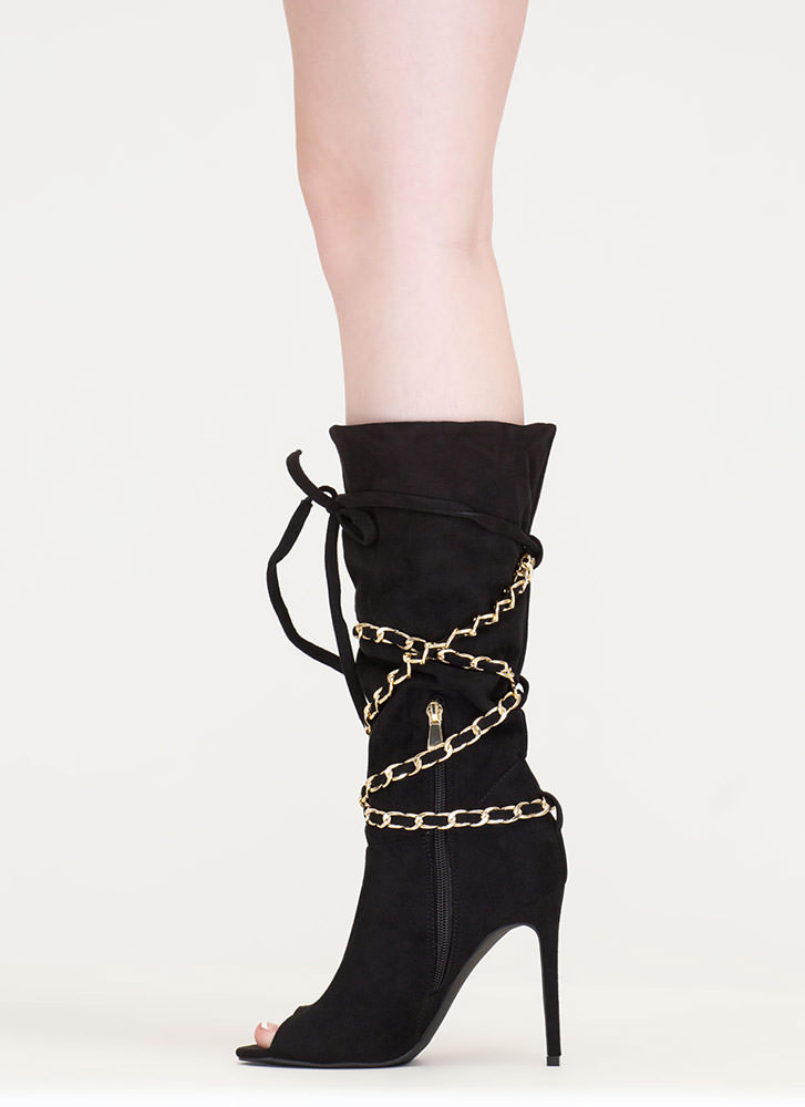 New Chain-ge Tied Faux Suede Boots BLACK