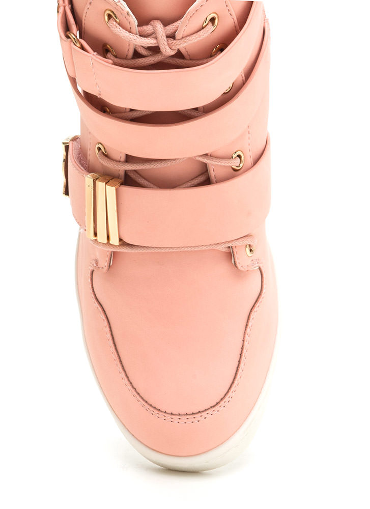 Off Duty Uniform Strappy Sneaker Wedges BABYPINK