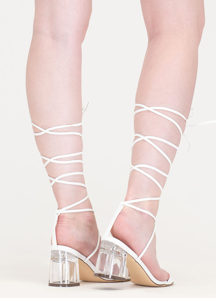 Clear The Air Chunky Lace-Up Heels WHITE