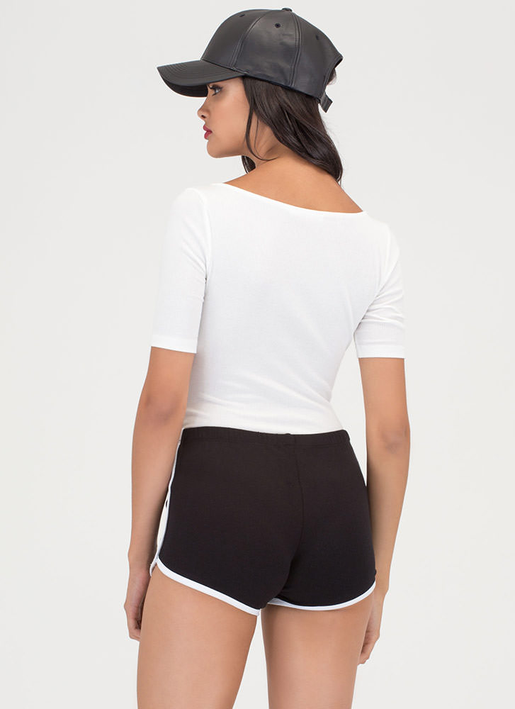Sporty Goods Piped Trim Shorts BLACK