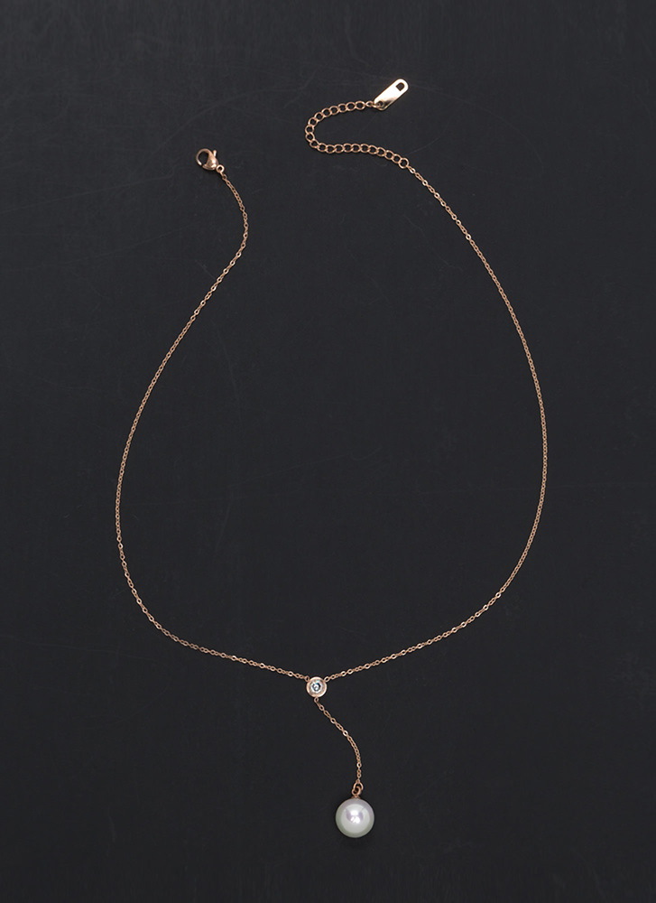 Lovely Look Faux Pearl Y-Necklace ROSEGOLD