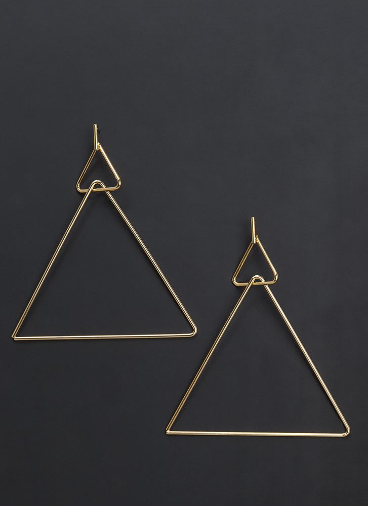 Eternal Triangles Statement Earrings GOLD