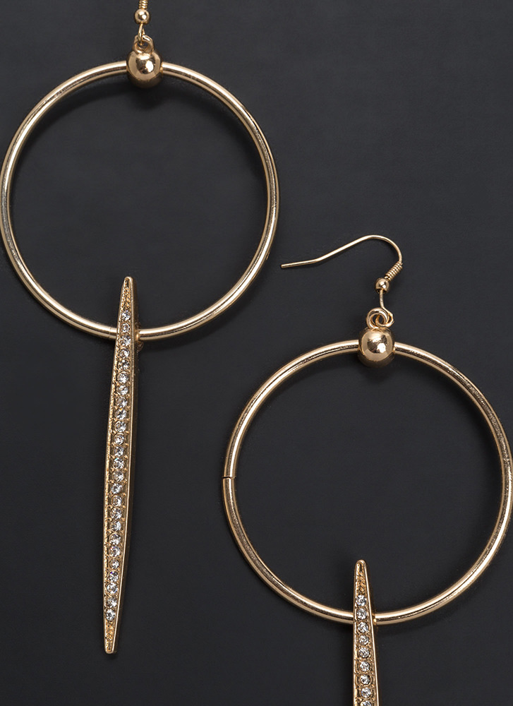Unique Expression Sparkly Hoop Earrings GOLD