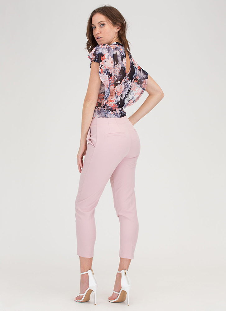 Ring It On Zippered Cropped Trousers DUSTYPINK
