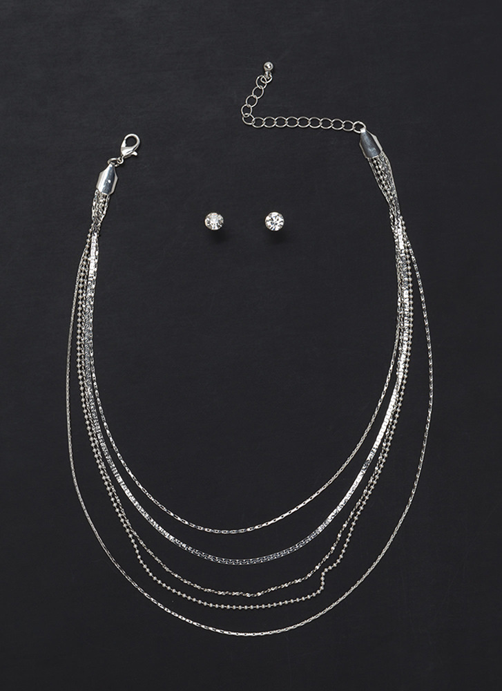 Delicate Situation Layered Necklace Set SILVER