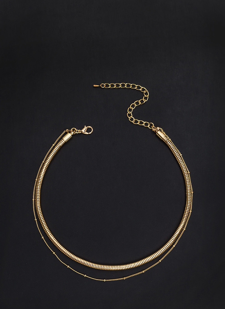 On The Double Snake Chain Necklace GOLD