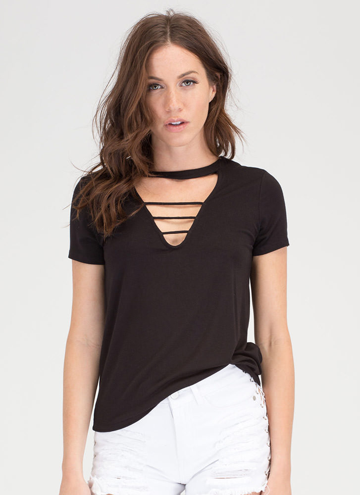 Straight To The Top Caged Cut-Out Top BLACK
