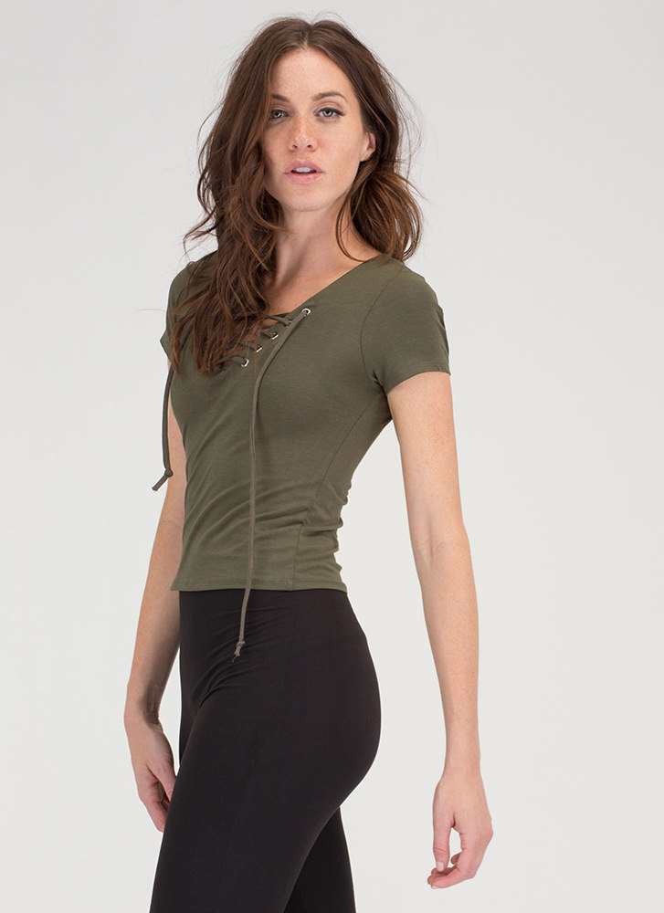 The String Section Lace-Up Top OLIVE