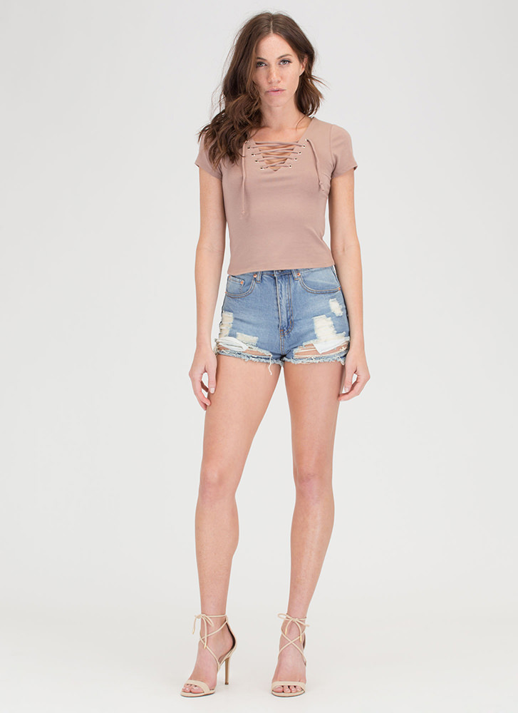 The String Section Lace-Up Top TAUPE
