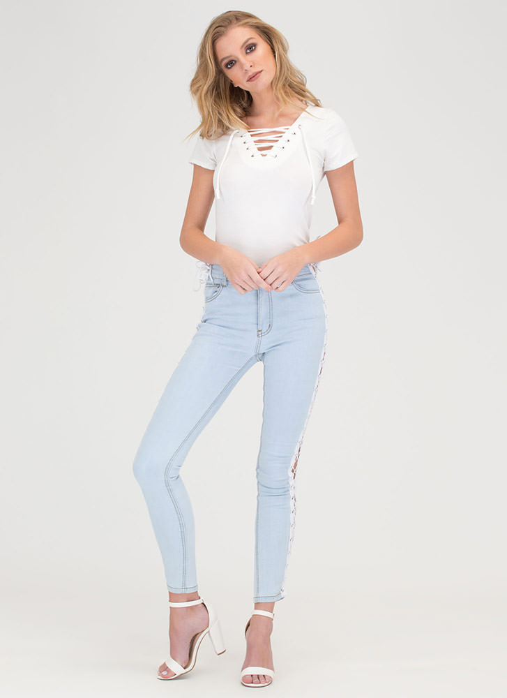 The String Section Lace-Up Top WHITE