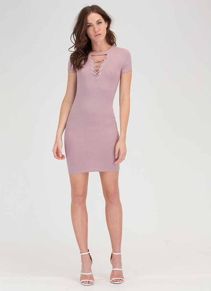 In Crowd Cut-Out Lace-Up Ribbed Dress MAUVE