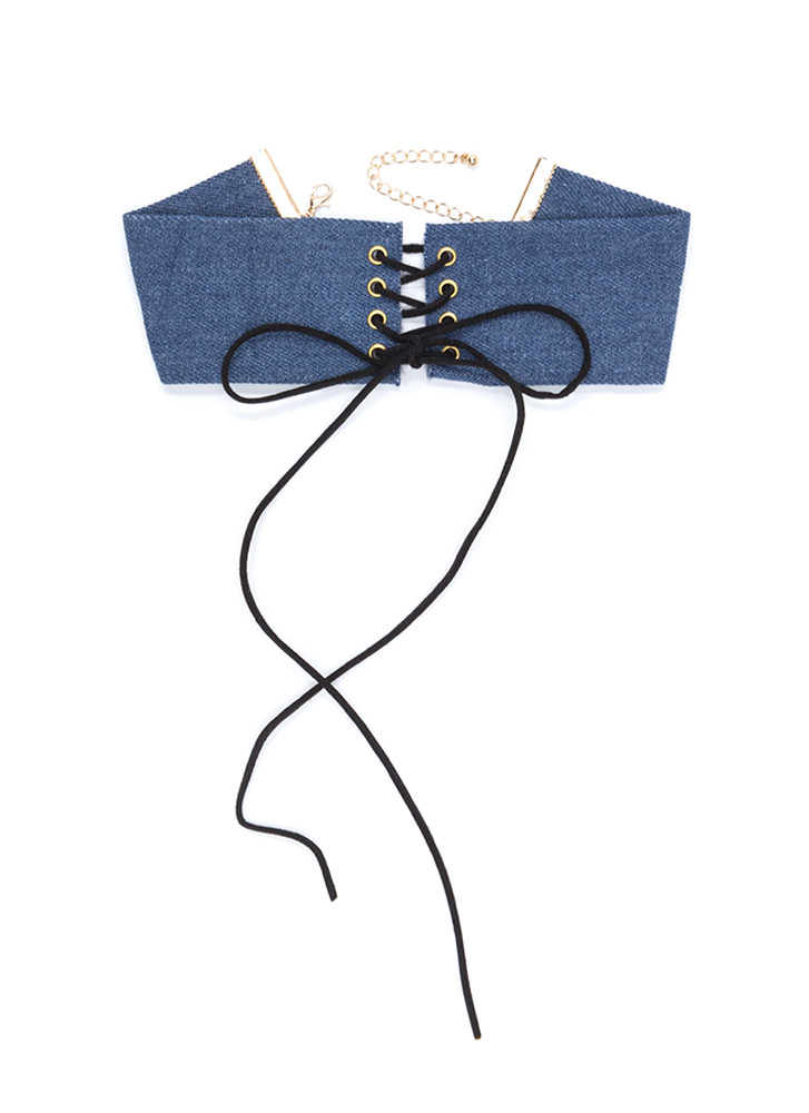 Fresh Drama Wide Lace-Up Denim Choker BLUEGOLD