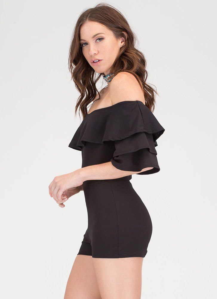 Sweet Touch Ruffled Off-Shoulder Romper BLACK