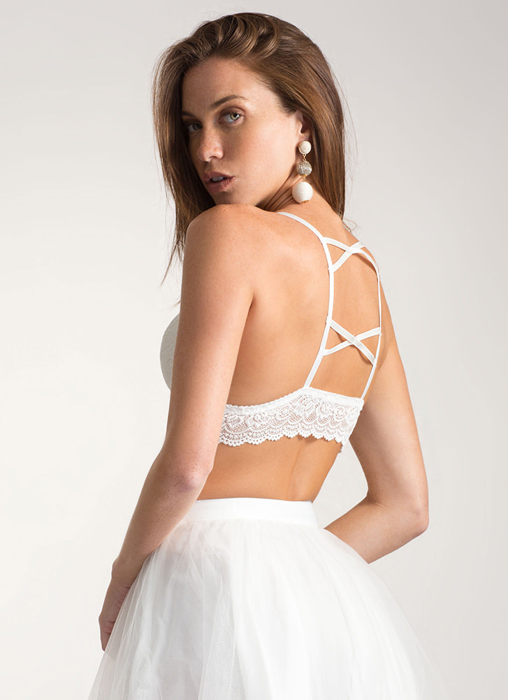 Under A Spell Strappy Lace Bralette WHITE