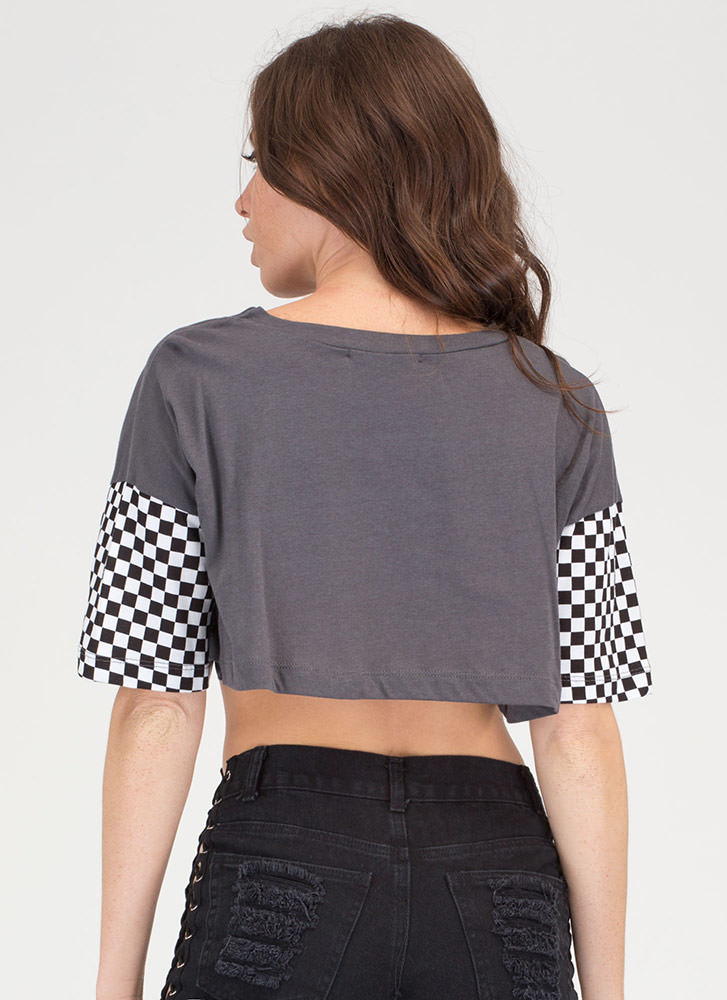 Good Vibes Checkered Crop Tee CHARCOAL