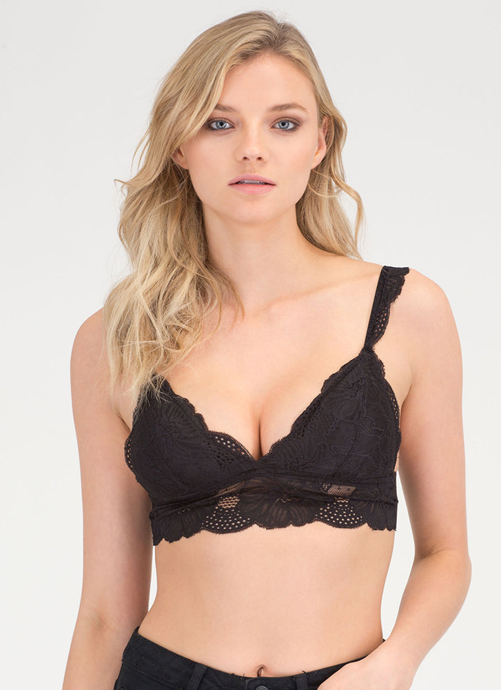 Lace The Music Cropped Bralette BLACK