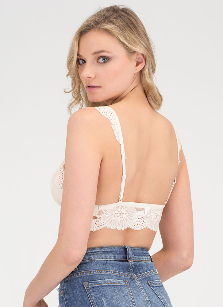 Lace The Music Cropped Bralette CREAM