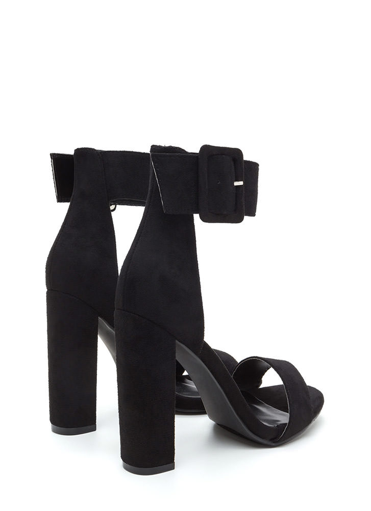This Is It Chunky Faux Suede Heels BLACK