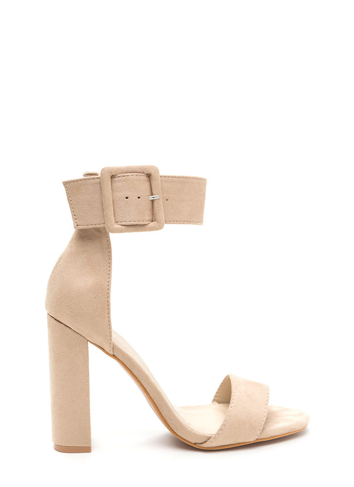 This Is It Chunky Faux Suede Heels NUDE
