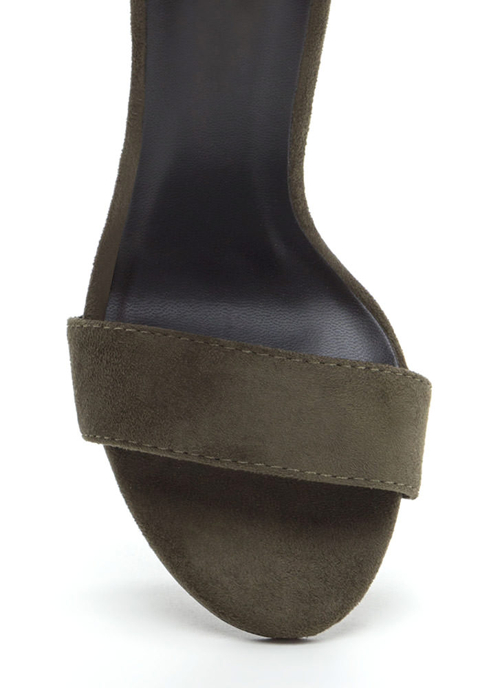 This Is It Chunky Faux Suede Heels OLIVE
