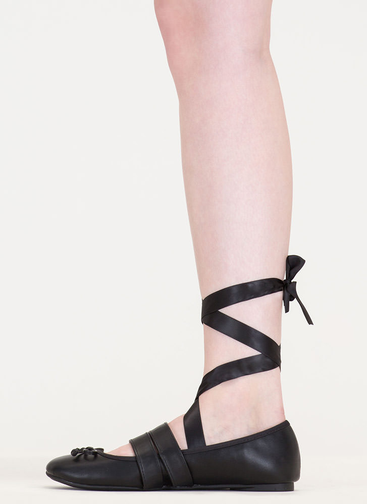 New Look Tied 'N Buckled Ballet Flats BLACK