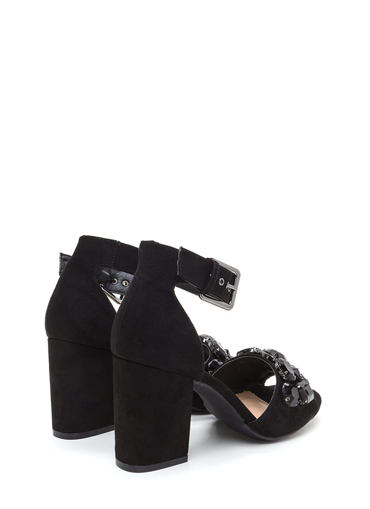 Chunky Jewelry Faux Suede Block Heels BLACK