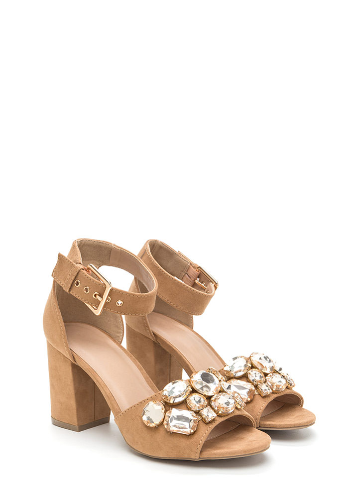 Chunky Jewelry Faux Suede Block Heels CAMEL