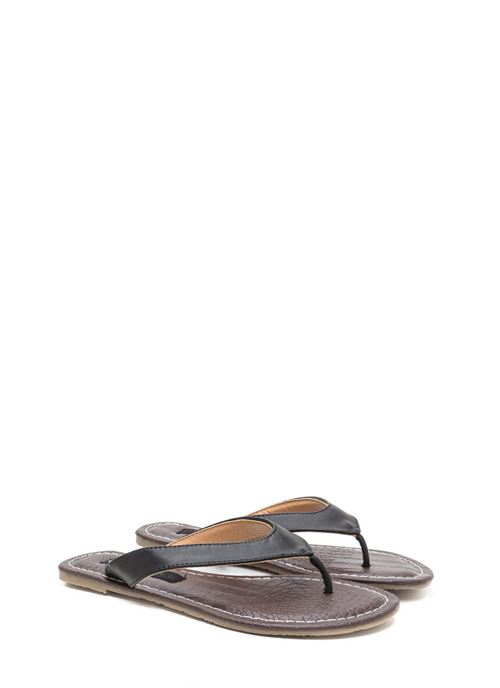 Scale It Back Faux Leather Thong Sandals BLACK