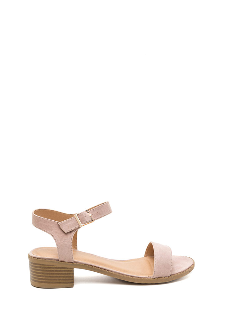 Outside The Box Faux Suede Block Heels NUDE