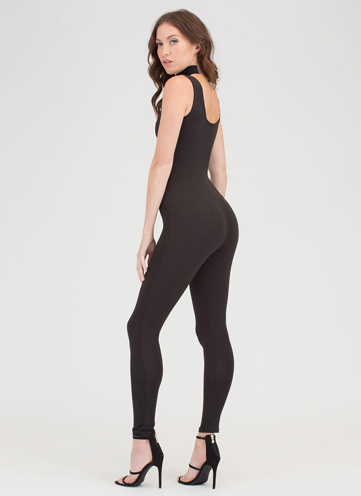 Caught In The Middle Cut-Out Jumpsuit BLACK