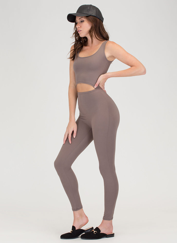 Caught In The Middle Cut-Out Jumpsuit TAUPE