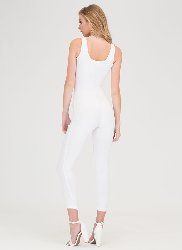 Caught In The Middle Cut-Out Jumpsuit WHITE