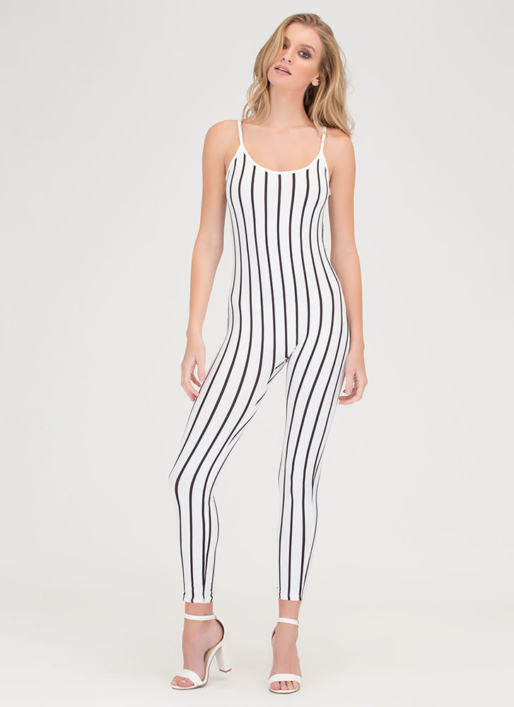 Out 'N About Plunging Striped Jumpsuit WHITEBLACK