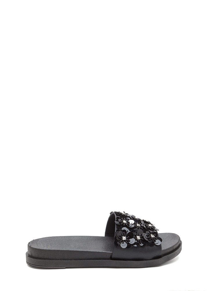 So Adorn-able Sequined Slide Sandals BLACK