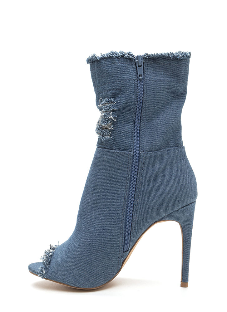 Fray Along Distressed Peep-Toe Booties BLUE