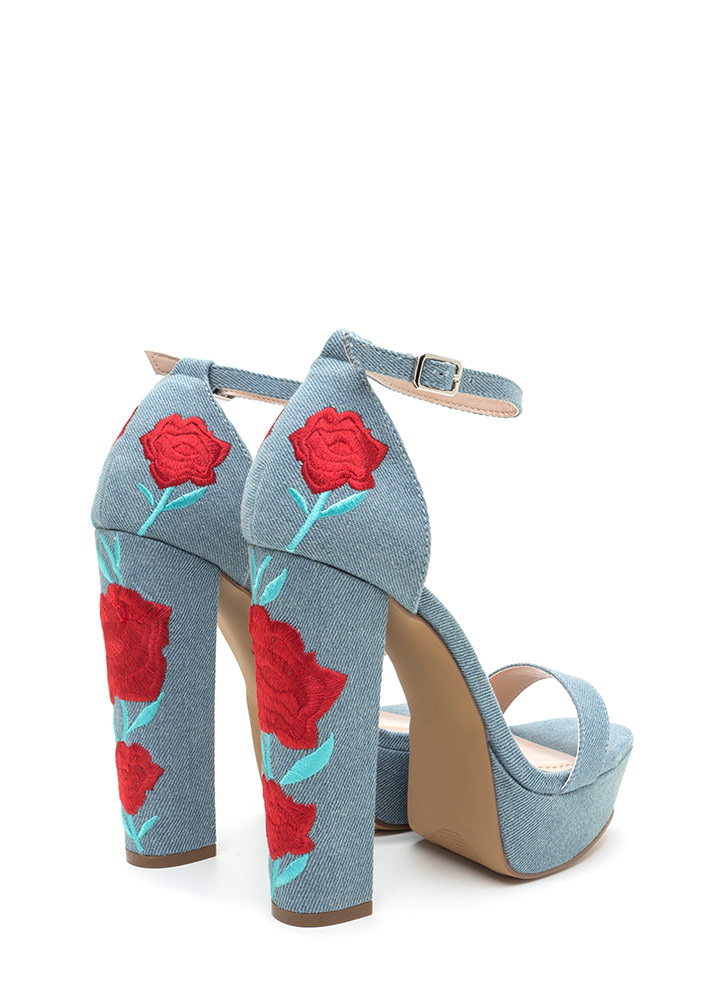 Back In Flowers Chunky Denim Platforms BLUE