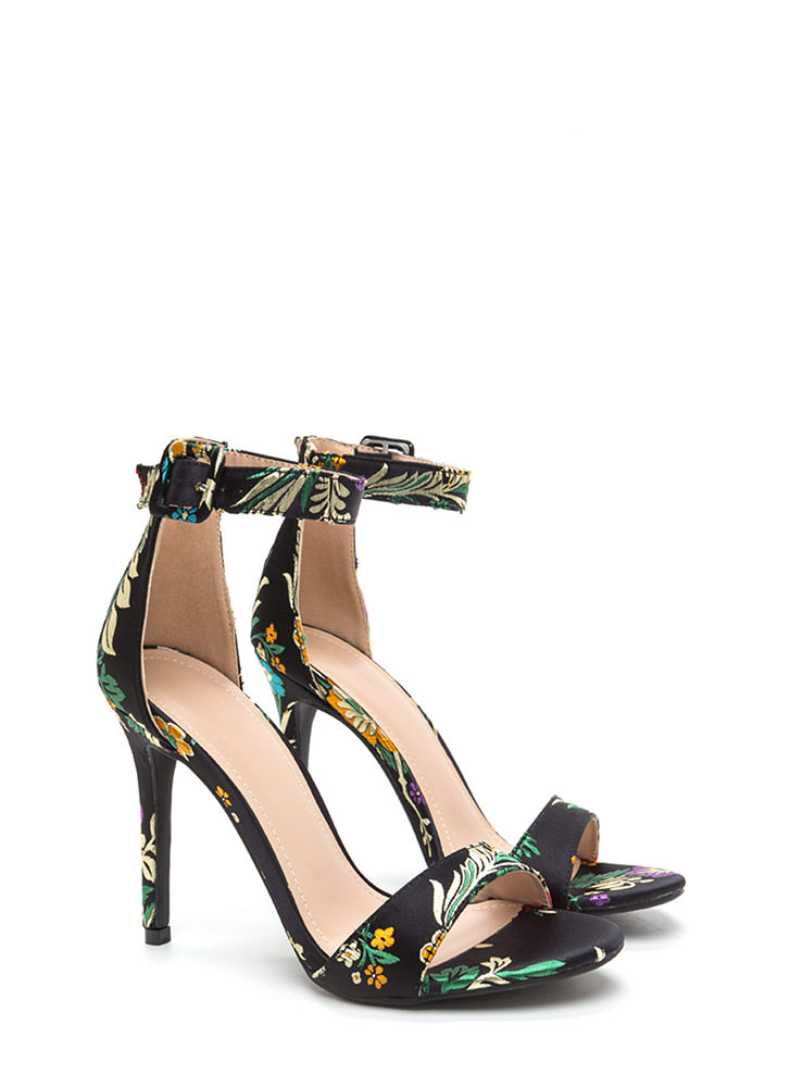 Satin Flowers Strappy Embroidered Heels BLACK