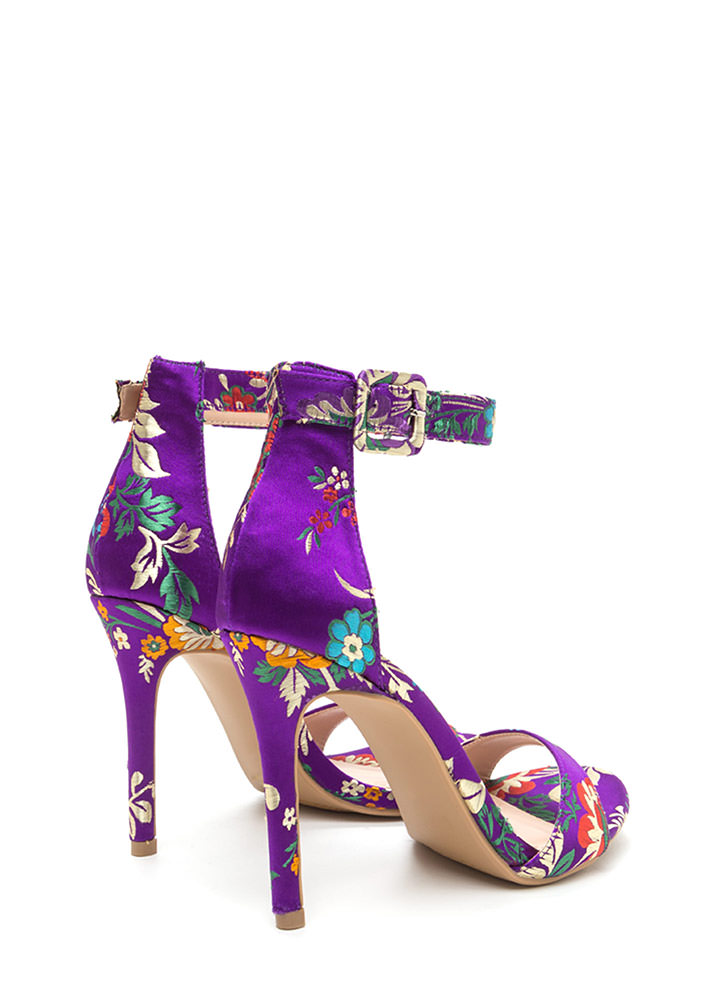 Satin Flowers Strappy Embroidered Heels PURPLE