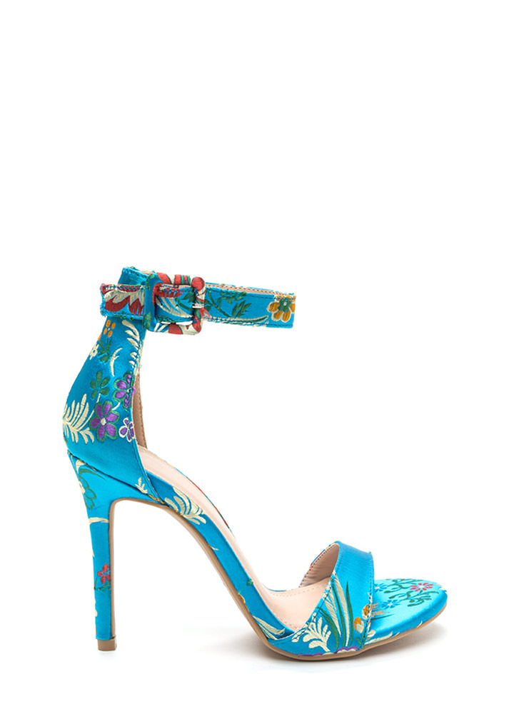 Satin Flowers Strappy Embroidered Heels TURQUOISE