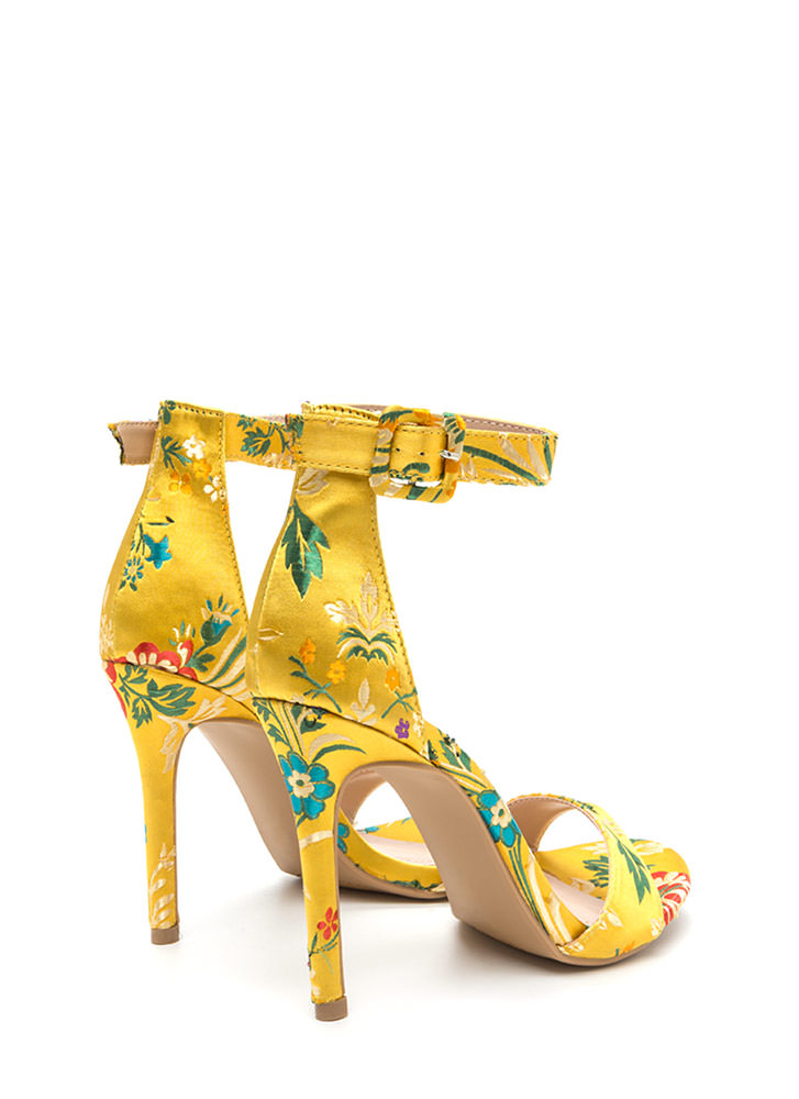 Satin Flowers Strappy Embroidered Heels YELLOW