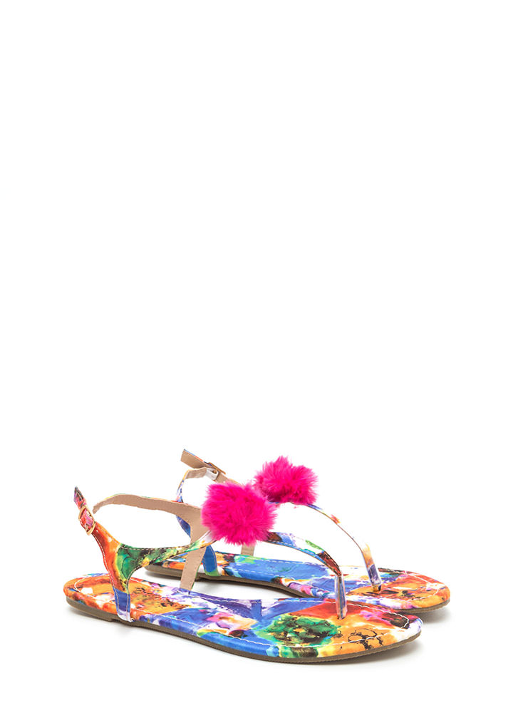 Day Off Abstract Floral Thong Sandals PINKMULTI