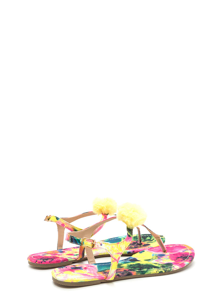 Day Off Abstract Floral Thong Sandals YELLOWMULTI
