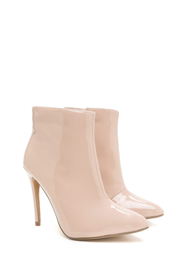 Point Value Faux Patent Booties NUDE
