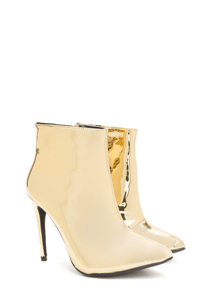 Point Value Metallic Faux Patent Booties GOLD