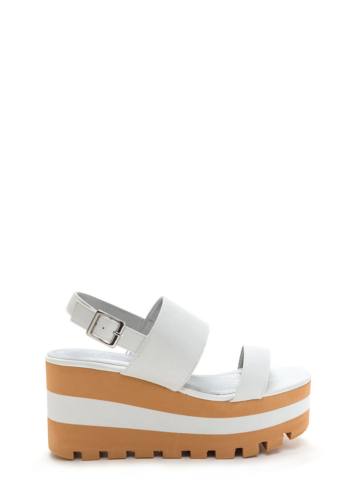 New Heights Faux Leather Wedge Sandals WHITE