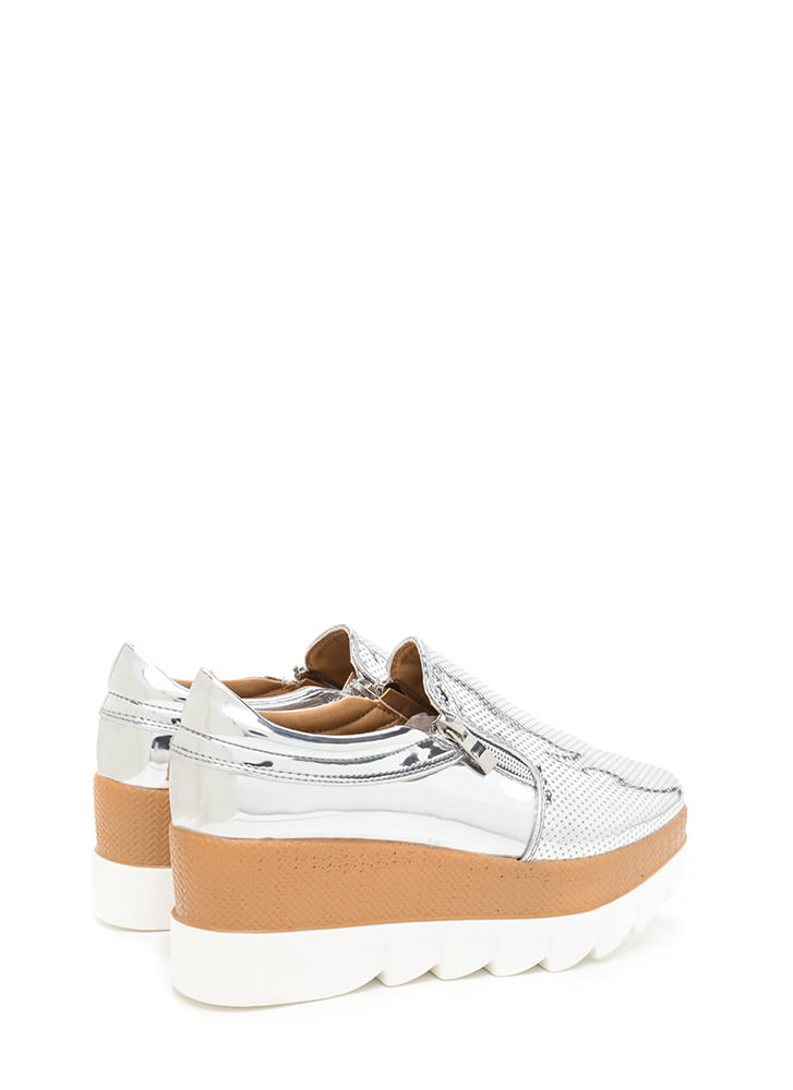 Zips Are Sealed Metallic Platform Wedges SILVER