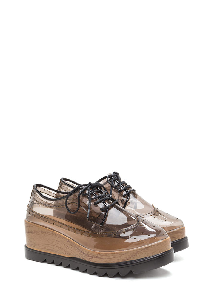 Clear View Platform Oxford Wedges GREY