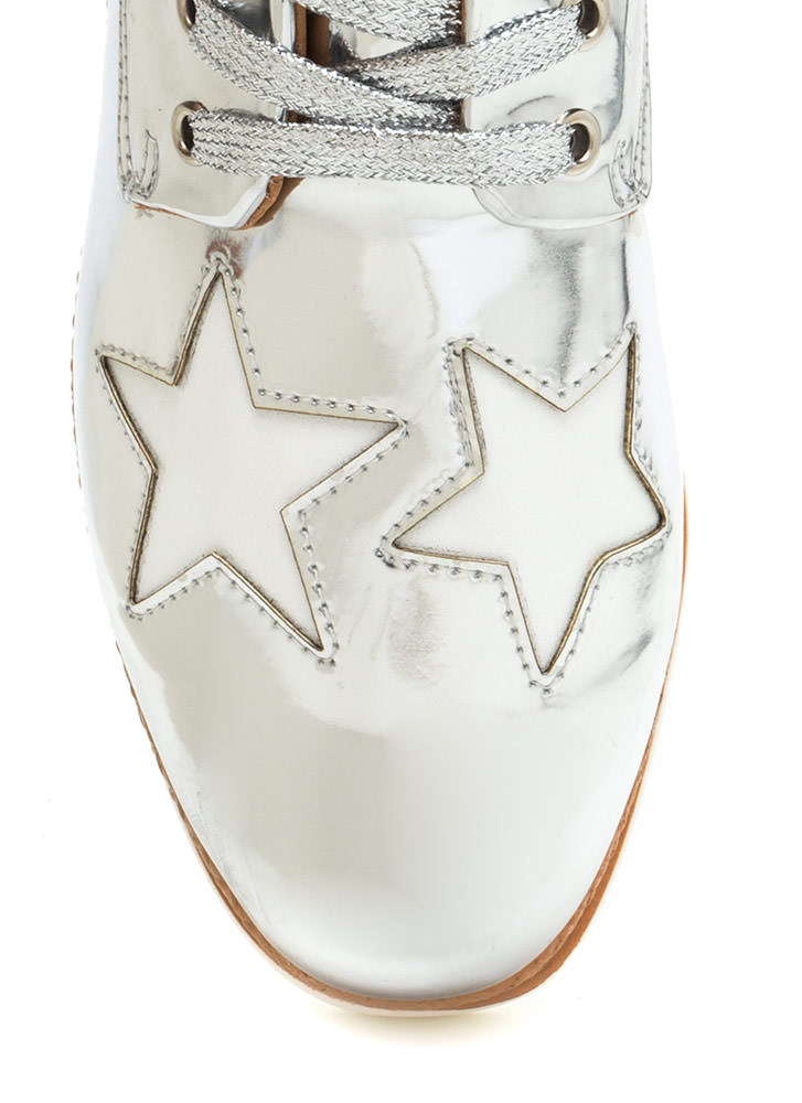 Stargazing Metallic Platform Wedges SILVER